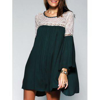 Loose-Fitting Scoop Neck See-through Lace Bell Sleeves Tunic Dress For Women