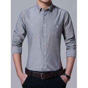Pocket Design Plus Size Turn-Down Collar Button-Down Men's Shirt