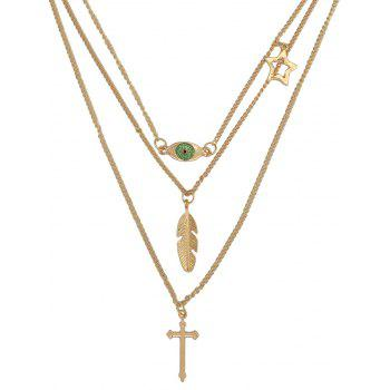 Fashionable Cross Leaf Evil Eye Layered Necklace - GOLDEN