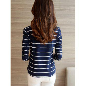 Casual Long Sleeve Striped Tee - DEEP BLUE S