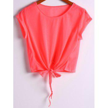 Active Scoop Neck Short Sleeve Candy Color Sport T-Shirt For Women