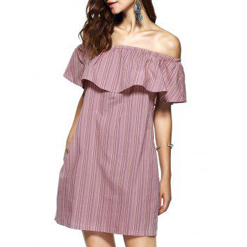 Elegant Women's Off-The-Shoulder Sleeveless Stripe Dress
