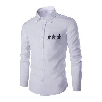 Star Pattern Solid Color Men's Shirt Collar Long Sleeves Shirt