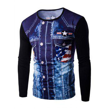Round Neck 3D Eagle Flag Printing Men's Long Sleeves T-Shirt