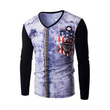 3D Zipper Printing Men's V-Neck Long Sleeves T-Shirt