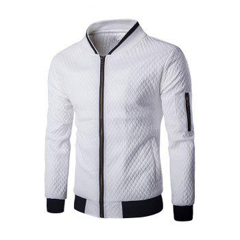 Multi-Pocket Argyle Pattern Stand Collar Long Sleeves Men's PU Leather Jacket