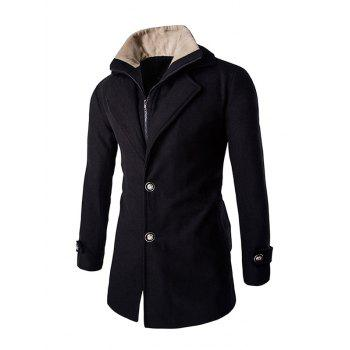 Faux Twinset Double Top Fly Men's Fur Collar Long Sleeves Coat
