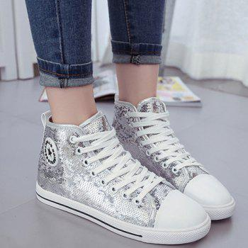 Stylish Tie Up and Sequined Design Women's Athletic Shoes