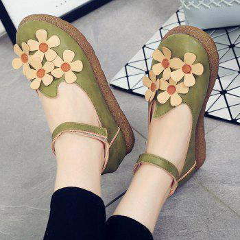 Casual PU Leather and Flowers Design Women's Flat Shoes - LIGHT GREEN 39