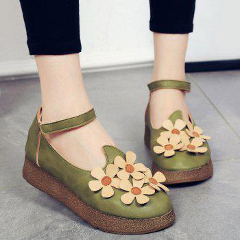 Casual PU Leather and Flowers Design Women's Flat Shoes