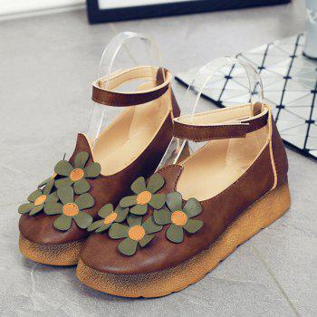 Casual PU Leather and Flowers Design Women's Flat Shoes - DEEP BROWN 38