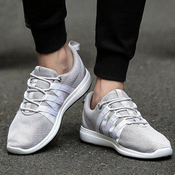 Fashionable Colour Splicing and Lace Up Design Men's Athletic Shoes - LIGHT GRAY 40