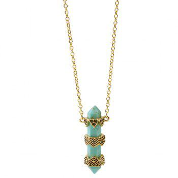 Vintage Faux Stone Etched Geometric Alloy Pendant Necklace