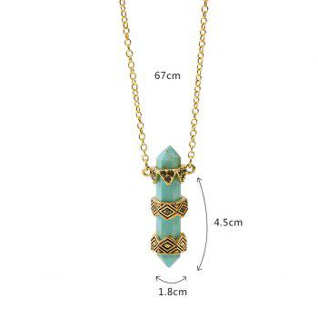 Vintage Faux Stone Etched Geometric Alloy Pendant Necklace - PEA GREEN