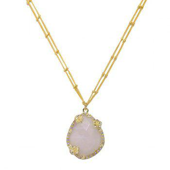 Flower Gold Plated Faux Gemstone Pendant Necklace