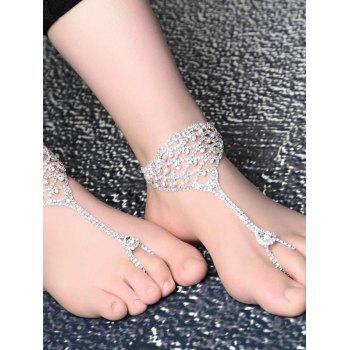 Fashionable Shiny Rhinestone Hollowed Anklet - SILVER SILVER