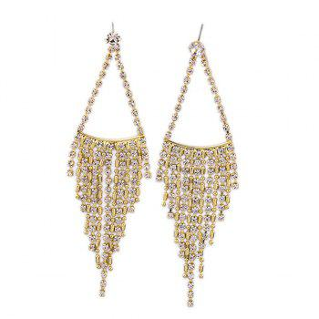 Buy Pair Chic Solid Color Rhinestone Triangle Fringe Earrings Women CHAMPAGNE