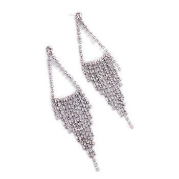 Buy Pair Chic Solid Color Rhinestone Triangle Fringe Earrings Women SILVER