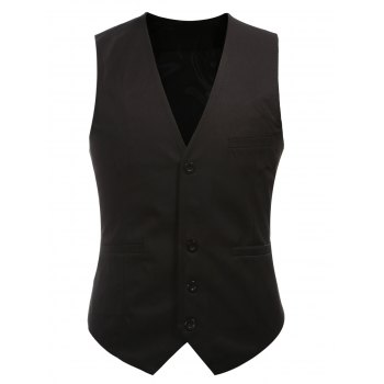 Buckle Back Solid Color Single Breasted Men  's Vest