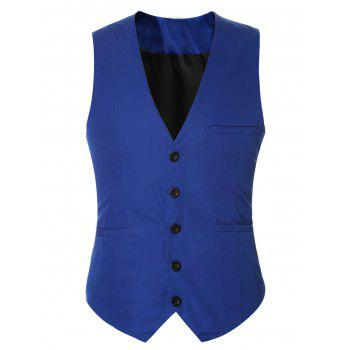 Buckle Back Solid Color Single Breasted Men's Vest