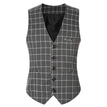 Buckle Back Plaid Single Breasted Men's Vest