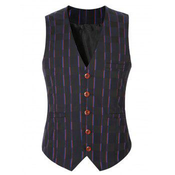 Striped Plaid Buckle Back Single Breasted Men's Vest