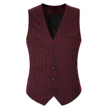 Striped Buckle Back Single Breasted Men's Vest