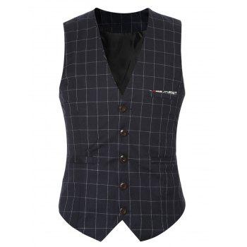 Plaid Buckle Back Single Breasted Men's Vest