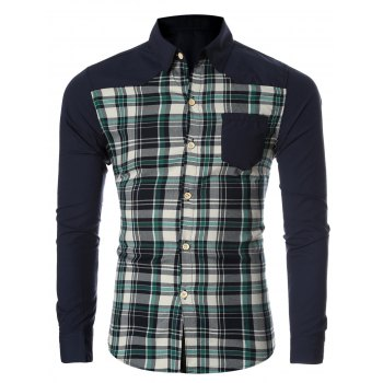 Checked Spliced Breasted Pocket Men's Long Sleeve Shirt