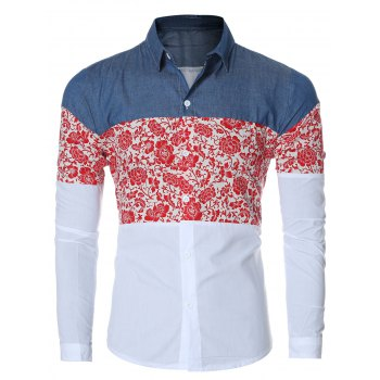 Floral Print Chambray Spliced Long Sleeve Men's Shirt