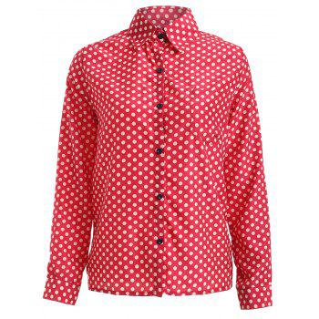 Long Sleeve Shirt Collar Polka Dot Chiffon Shirt