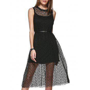 Loose-Fitting Women's Scoop Neck Openwork A-line Dress and Spaghetti Strap Tank Top Set - BLACK BLACK