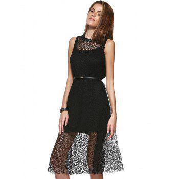 Loose-Fitting Women's Scoop Neck Openwork A-line Dress and Spaghetti Strap Tank Top Set - BLACK ONE SIZE(FIT SIZE XS TO M)