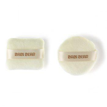 Cosmetic 2 Pcs Round and Square Calm Makeup Dry Use Powder Puffs