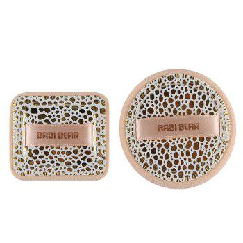Cosmetic 2 Pcs Round and Square Base Makeup BB Cream Wet Use Powder Puffs - LEOPARD LEOPARD