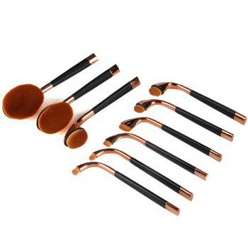 Cosmetic 9 Pieces Multifonctions Golf Clubs Shape Nylon Pinceaux Set - Or Rose