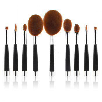 Cosmetic 9 Pcs Multifunction Golf Clubs Shape Nylon Makeup Brushes Set - SILVER SILVER