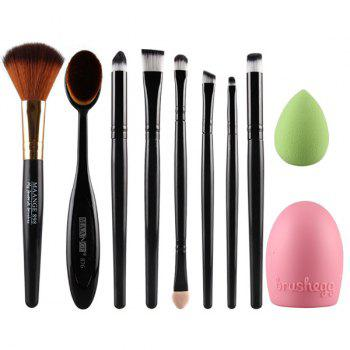Cosmetic 6 Pcs Eye Makeup Brushes Set + Blush Brush + Foundation Brush + Brush Egg + Makeup Sponge