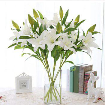 Sweet 1 Bouquet of 3 Head PU Artificial Lily Flower Home Decorative - WHITE WHITE