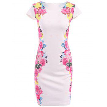 Fashionable Round Collar Short Sleeve Floral Print Bodycon Women's Dress