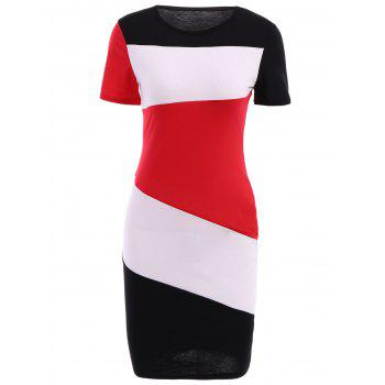 Casual Jewel Neck Color Splicing Short Sleeve Bodycon Dress For Women