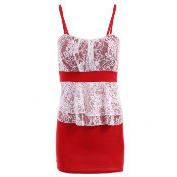 Stylish Women's Spaghetti Straps Lace Splicing Color Block Dress