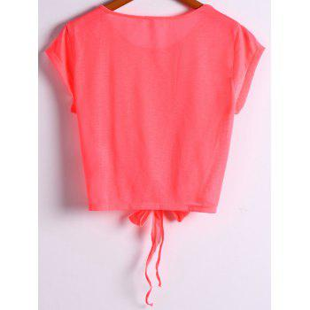 Active Scoop Neck Short Sleeve Candy Color Sport T-Shirt For Women - RED RED
