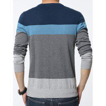 Color Block Splicing Round Neck Long Sleeve Men's Sweater - BLUE L