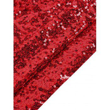 Sequined Sleeveless Red Dress - RED L