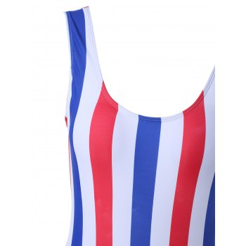 Alluring Striped Color Block One-Piece Swimsuit - COLORMIX L