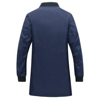 Rib Cuff Number Print Snap Button Pocket Men's Coat - BLUE L