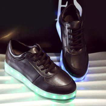 Trendy Tie Up and Lights Up Led Luminous Design Women's Athletic Shoes - BLACK 39