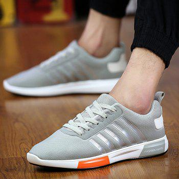 Trendy Tie Up and Stripes Design Men's Athletic Shoes - LIGHT GRAY 42