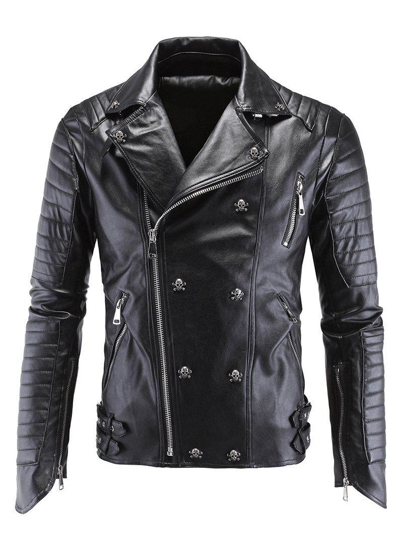 Skull Buckle Embellished Zippered Men's Faux Leather Jacket - BLACK 5XL